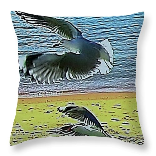 Blair Stuart Throw Pillow featuring the photograph Sea Gulls In Flight by Blair Stuart