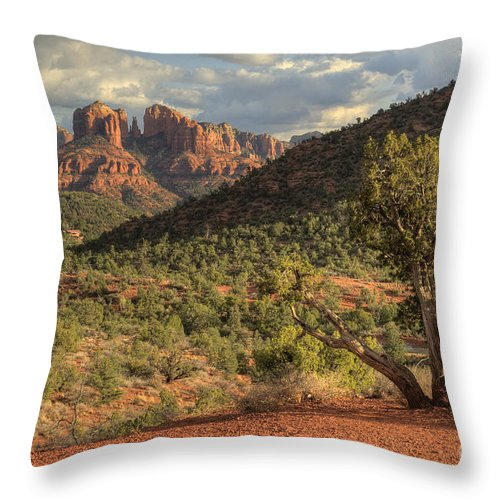 Sedona Throw Pillow featuring the photograph Sedona Red Rock by Sandra Bronstein