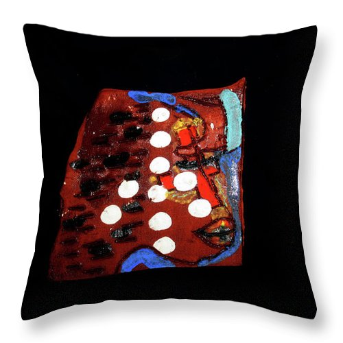 Godly Throw Pillow featuring the ceramic art Sign by Gloria Ssali
