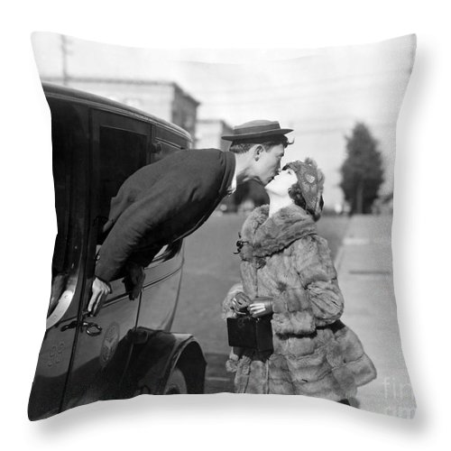 1921 Throw Pillow featuring the photograph Silent Film Still: Kissing by Granger