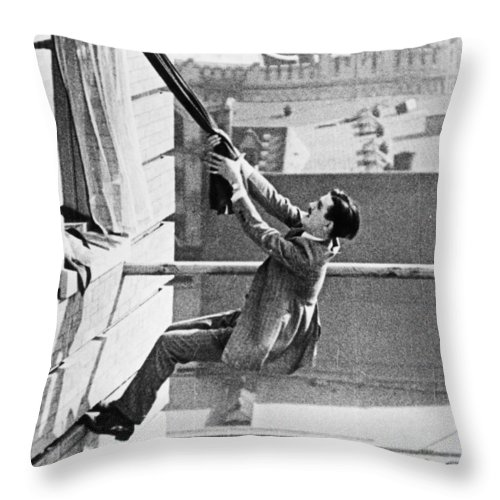 -man In Distress- Throw Pillow featuring the photograph Silent Still: Man In Distress by Granger