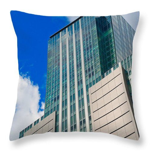 Abstract Throw Pillow featuring the photograph Skyscraper Front View With Blue Sky by U Schade