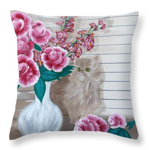Kitten Throw Pillow featuring the painting Sneaky Kitten by Debbie Levene