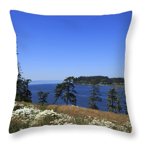 Tall Throw Pillow featuring the photograph Sooke Harbour And The Strait Of Juan De Fuca by Louise Heusinkveld