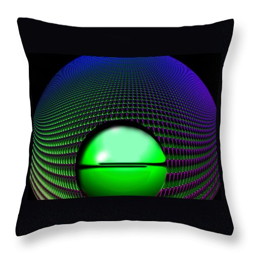 Digital .abstract.green .purple.black. Throw Pillow featuring the digital art Spin by Gary Yates