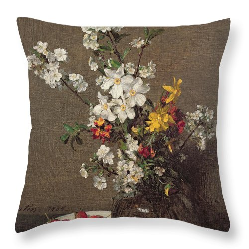Spring Throw Pillow featuring the painting Spring Bouquet by Ignace Henri Jean Fantin-Latour