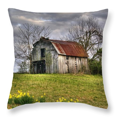 Spring Throw Pillow featuring the photograph Spring Time Barn by Kevin Pugh