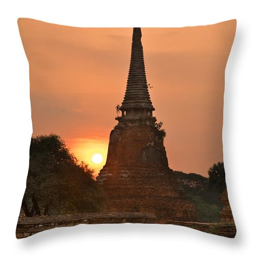 Ancient Throw Pillow featuring the photograph Stupa Chedi Of A Wat In Ayutthaya Thailand by U Schade