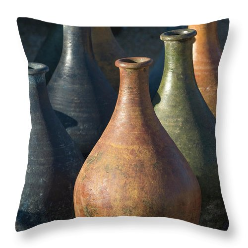 Southwest Throw Pillow featuring the photograph Sunrise And Pottery by Sandra Bronstein