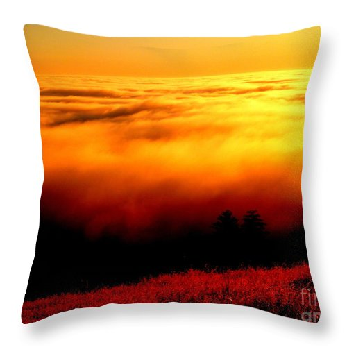 Sun.sunset.light.sky.energy.fog.coastal Fog.mountain.landscape.calm.peace.sweet.pure.spiritual.warm.crystal.love.orange.yellow.gold.bronze.black.white Throw Pillow featuring the photograph Pray by Kumiko Mayer