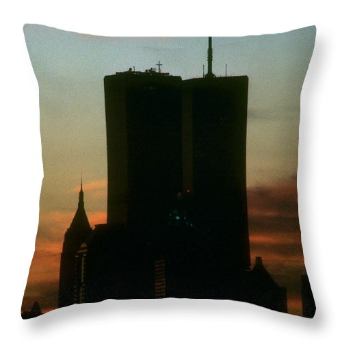 Wtc Throw Pillow featuring the photograph Sunset by Mark Gilman