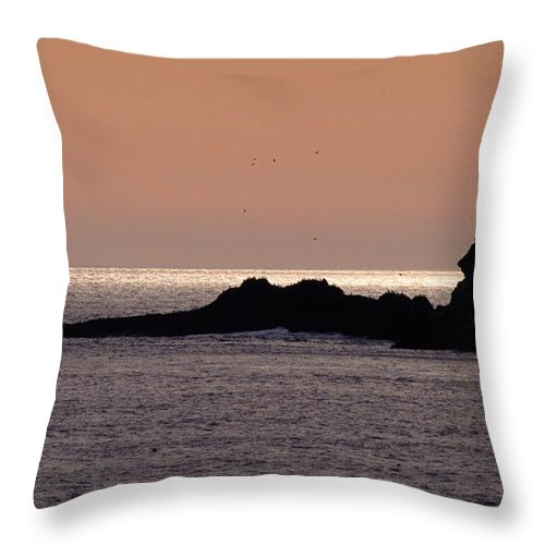 Ocean Throw Pillow featuring the photograph Sunset Three Arch Rocks Bird Sanctuary by One Rude Dawg Orcutt