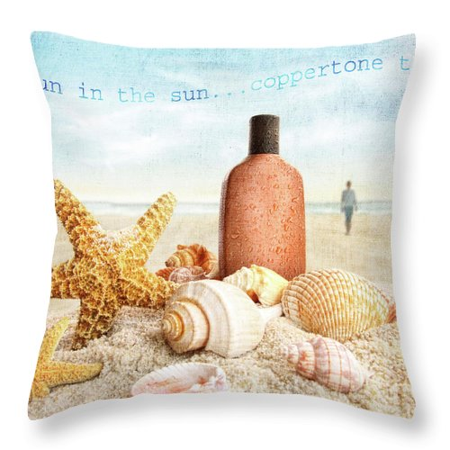 Background Throw Pillow featuring the photograph Suntan Lotion And Seashells On The Beach by Sandra Cunningham