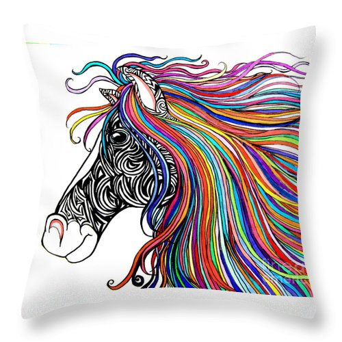 Tattooed Horse Throw Pillow featuring the drawing Tattooed Horse by Nick Gustafson