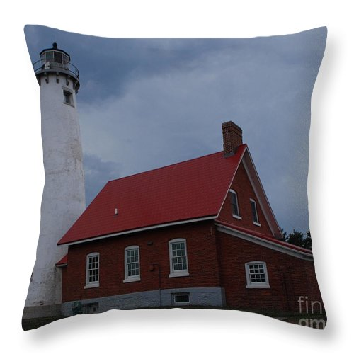 Lighthouse Throw Pillow featuring the photograph Tawas Point Lighthouse by Grace Grogan