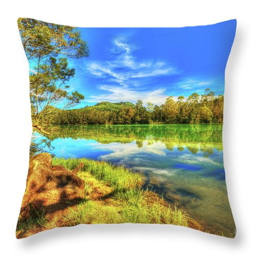 Lake Throw Pillow featuring the photograph Telaga Warna Lake by MotHaiBaPhoto Prints