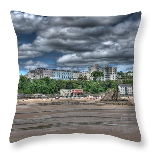 Tenby Harbour Throw Pillow featuring the photograph Tenby North Beach by Steve Purnell