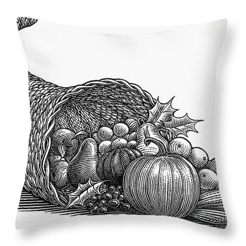 19th Century Throw Pillow featuring the photograph Thanksgiving: Cornucopia by Granger