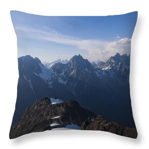 No People Throw Pillow featuring the photograph The Jagged Tops Of High Mountain Peaks by Taylor S. Kennedy