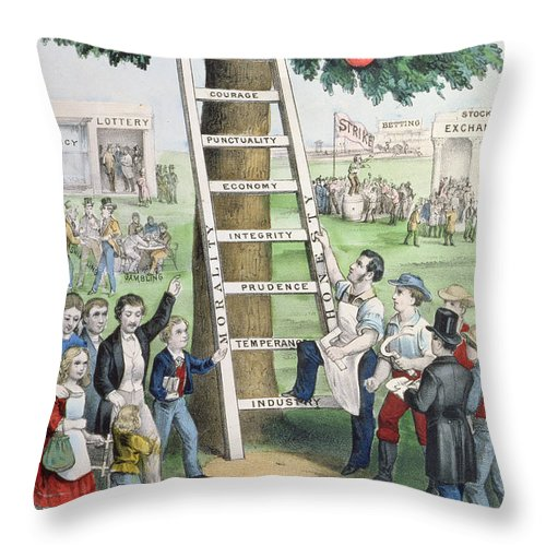 The Ladder Of Fortune Throw Pillow featuring the painting The Ladder Of Fortune by Currier and Ives