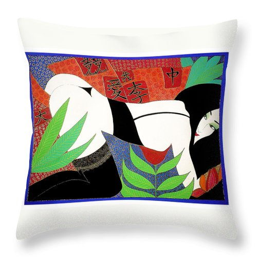 Erotic Throw Pillow featuring the painting The Last Erotic Geisha by Dulcie Dee
