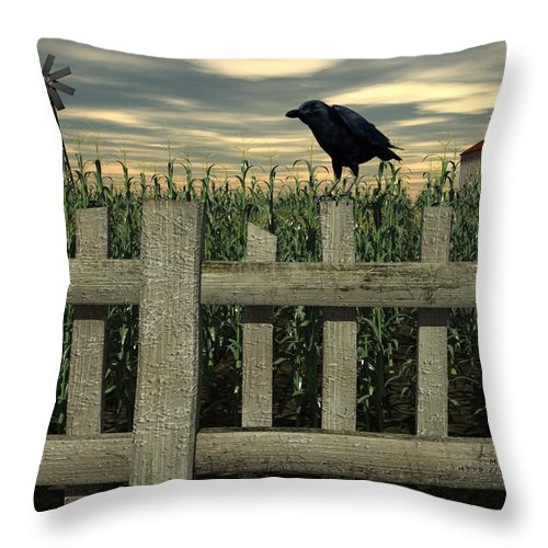 Raven Throw Pillow featuring the digital art The Raven by Michael Stowers