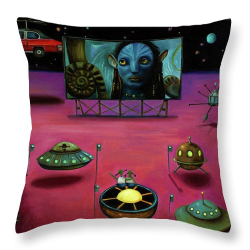 Alien Throw Pillow featuring the painting The Sighting At The Neptune Fly In by Leah Saulnier The Painting Maniac