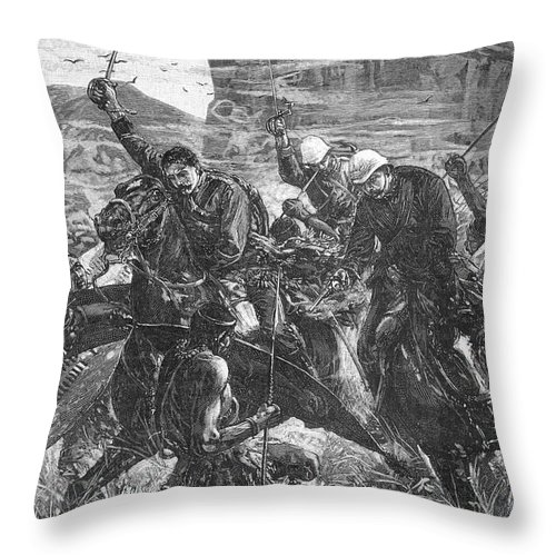 1879 Throw Pillow featuring the photograph The Zulu War, 1879 by Granger