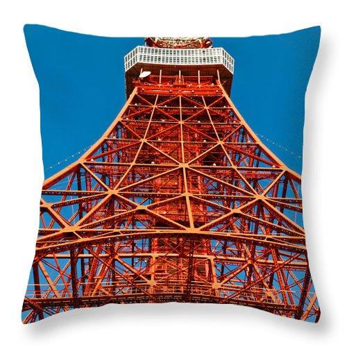 Architecture Throw Pillow featuring the photograph Tokyo Tower Faces Blue Sky by U Schade