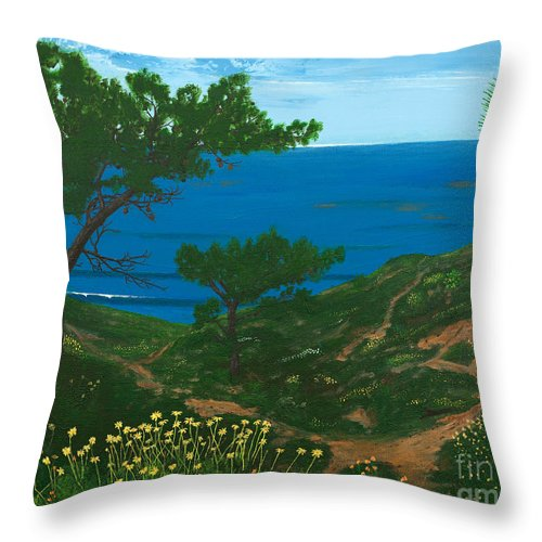 Coastal Seascape Throw Pillow featuring the painting Torrey Pines Trails by L J Oakes