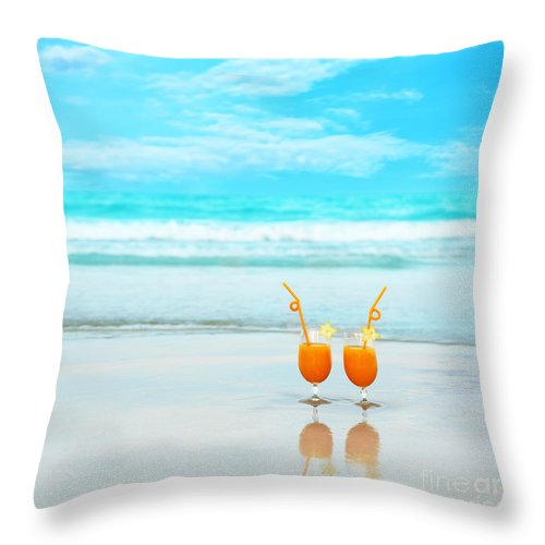Glasses Throw Pillow featuring the photograph Two Glasses Of Orange Juice by MotHaiBaPhoto Prints