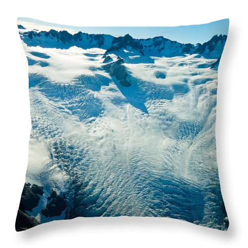 Alps Throw Pillow featuring the photograph Upper Level Of Fox Glacier In New Zealand by U Schade
