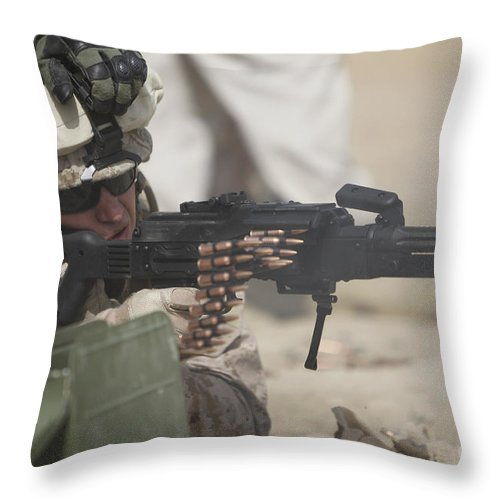 Sight Throw Pillow featuring the photograph U.s. Marine Firing A Pk 7.62mm Machine by Terry Moore