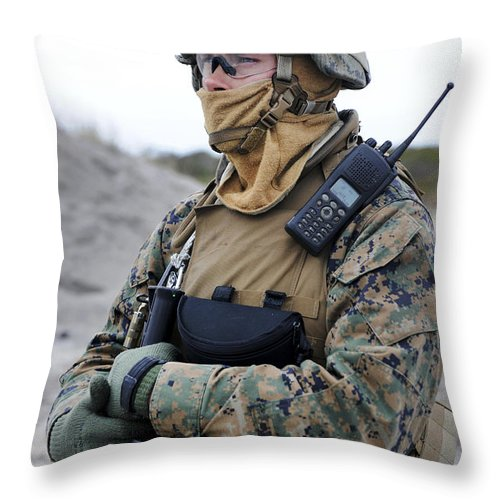 Safety Glasses Throw Pillow featuring the photograph U.s. Marine Provides Security by Stocktrek Images