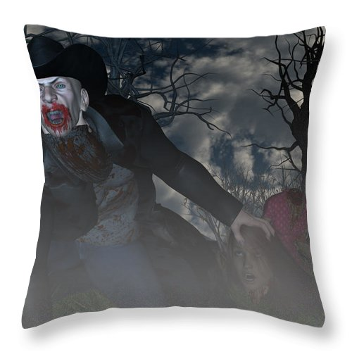 Vampire Throw Pillow featuring the digital art Vampire Cowboy by Michael Stowers
