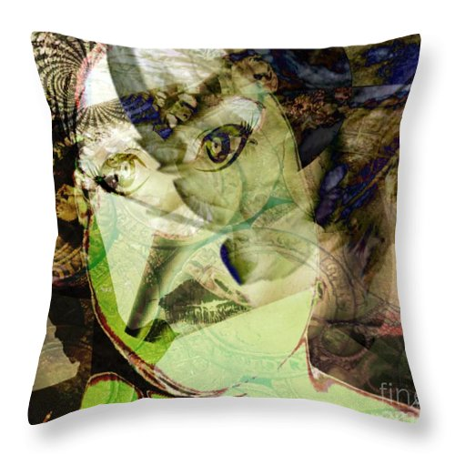 Fania Simon Throw Pillow featuring the mixed media Vanity by Fania Simon