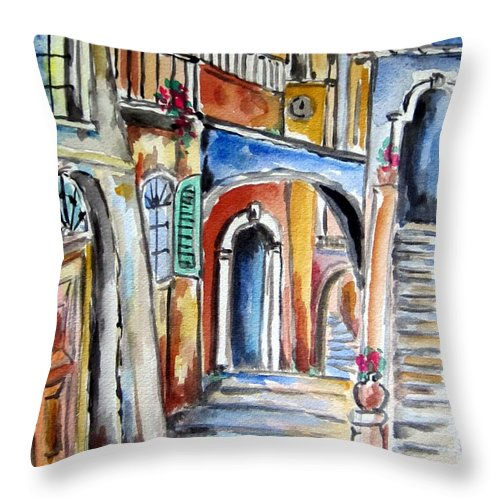 Roma Throw Pillow featuring the painting Vecchio Vicolo A Trastevere by Roberto Gagliardi