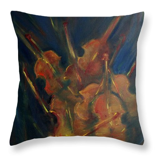 Violins Throw Pillow featuring the painting Vibrato by Robin Monroe