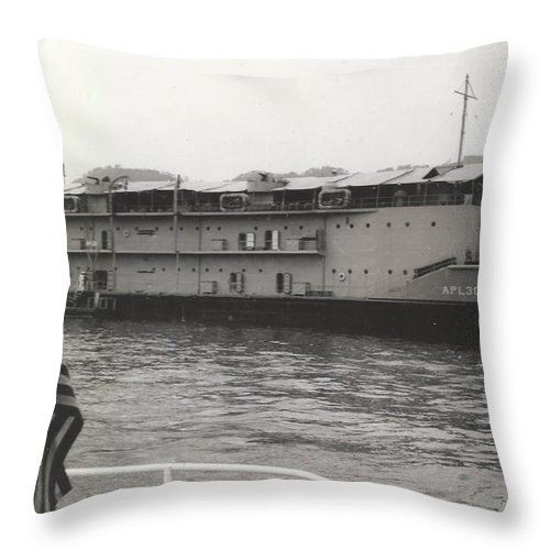 Digitized Throw Pillow featuring the pyrography Vintage Boat by Alan Espasandin