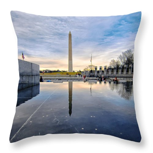 This Is A Picture Of The Washington Monument Taken From The West Side Of The World War Ii Memorial Reflecting Pool Just After A Rain Storm. The World War Ii Memorial Is Situated At The Eastern End Of The National Mall's Reflecting Pool. Throw Pillow featuring the photograph Washington Monument From The World War II Memorial by Jim Moore