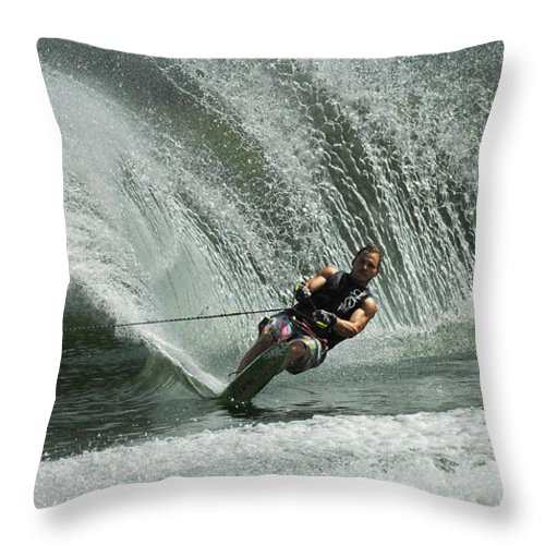 Water Skiing Throw Pillow featuring the photograph Water Skiing Magic Of Water 27 by Bob Christopher
