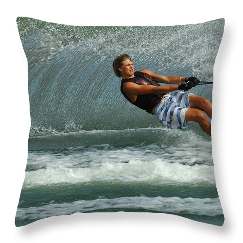 Water Skiing Throw Pillow featuring the photograph Water Skiing Magic Of Water 28 by Bob Christopher