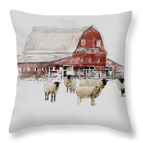 Winter Throw Pillow featuring the photograph Weatherbury Farm by Ron Jones