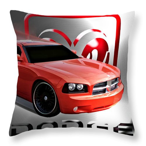 Dodge Throw Pillow featuring the digital art West Coast General by Tommy Anderson