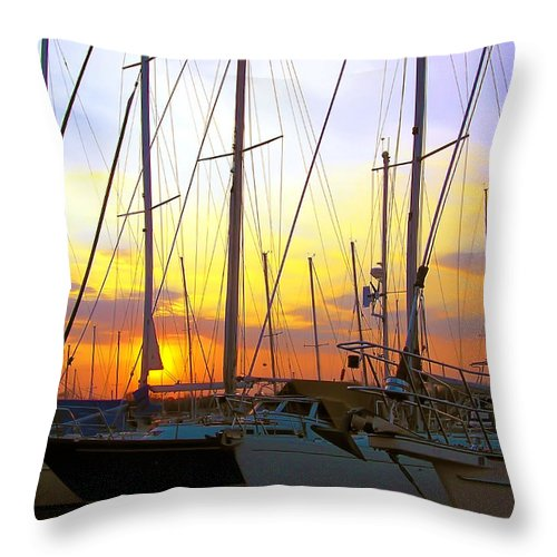 2d Throw Pillow featuring the photograph White Rocks Marina Sunset by Brian Wallace