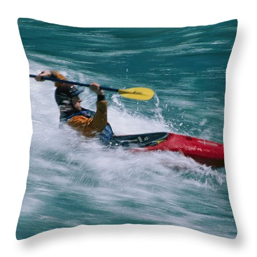 Boats Throw Pillow featuring the photograph Whitewater Kayaker Surfing A Standing by Skip Brown