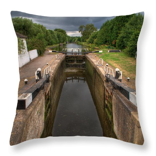 Grand Union Canal Throw Pillow featuring the photograph Wide Water Lock by Chris Day