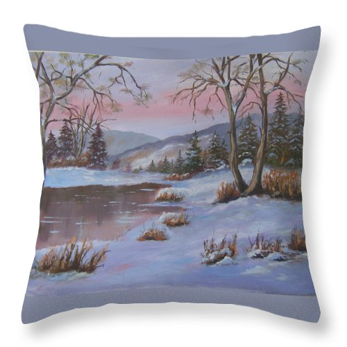 Landscape Throw Pillow featuring the painting Winter In The Country by Mark Perry