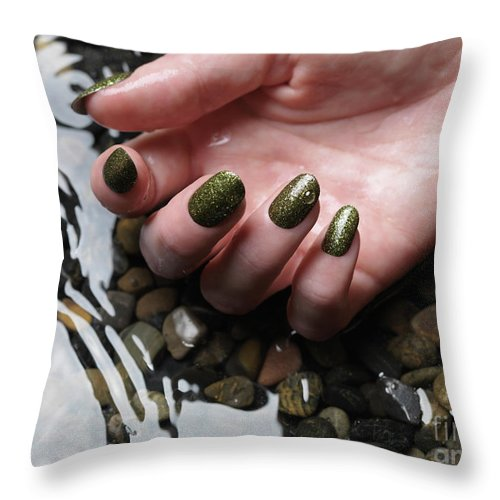 Manicure Throw Pillow featuring the photograph Woman Hand In Water by Oleksiy Maksymenko