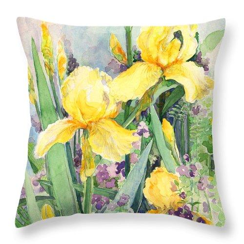 Iris Throw Pillow featuring the painting Yellow Iris by Nancy Watson